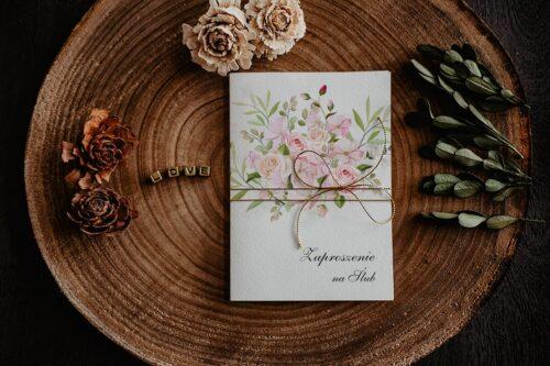 Zaproszenia na ślub - Kwiatowe Gałązki - wzór 16