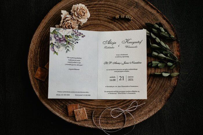 Zaproszenia na ślub - Kwiatowe Gałązki - wzór 1