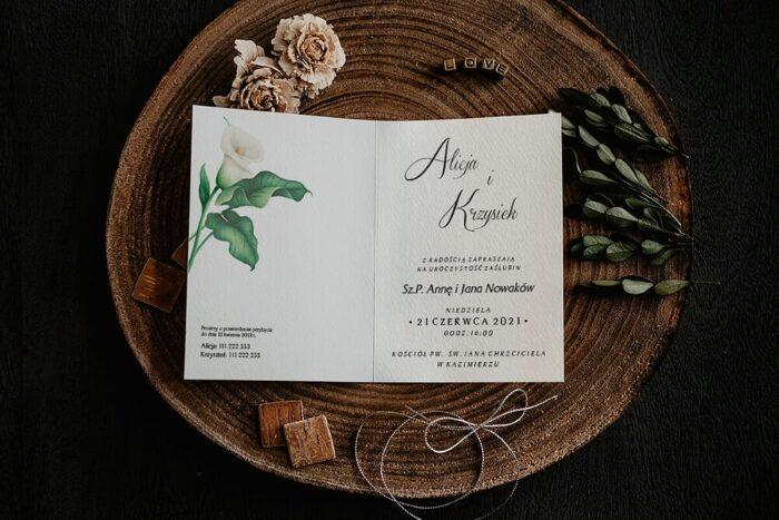 Zaproszenia na ślub - Kwiatowe Gałązki - wzór 3