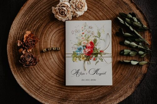 Zaproszenia na ślub - Kwiatowe Gałązki - wzór 2