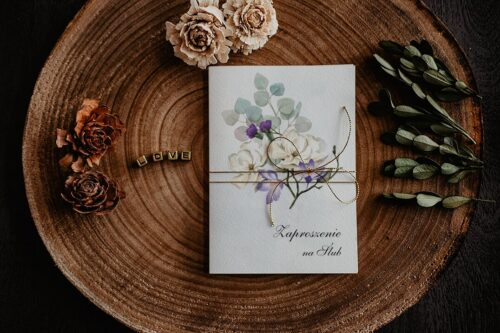Zaproszenia na ślub - Kwiatowe Gałązki - wzór 5
