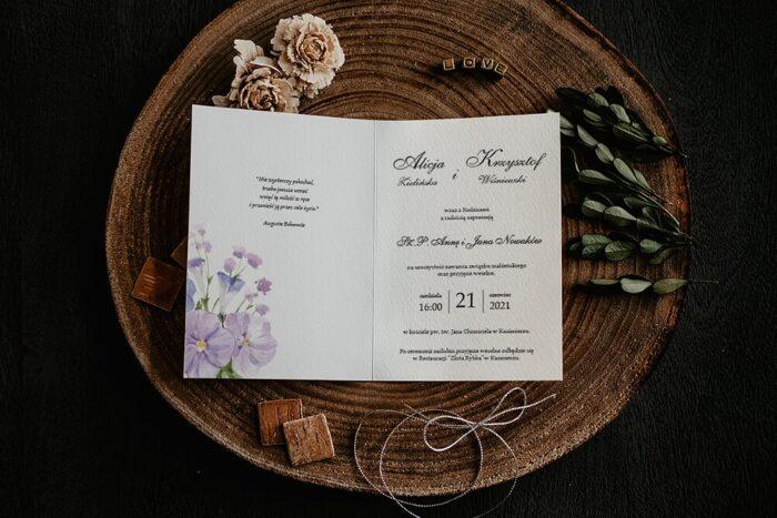 Zaproszenia na ślub - Kwiatowe Gałązki - wzór 6