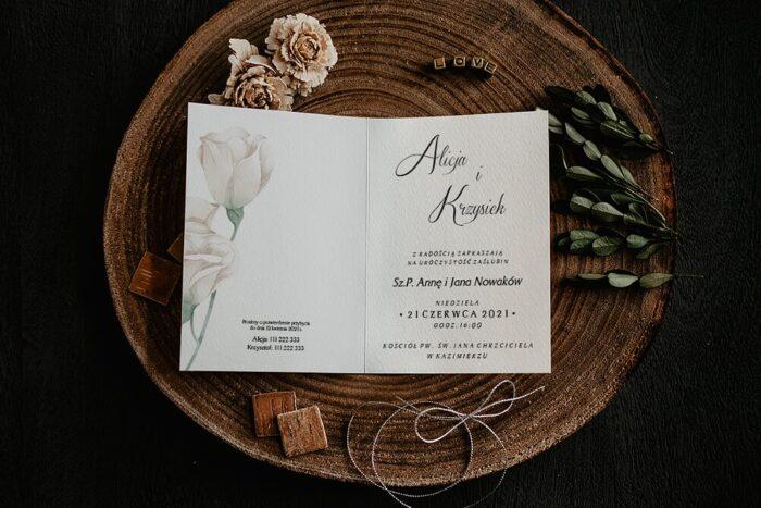 Zaproszenia na ślub - Kwiatowe Gałązki - wzór 7