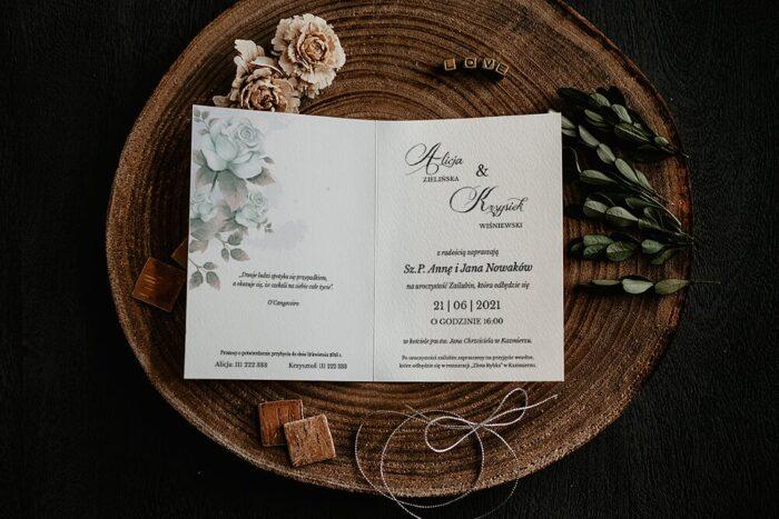 Zaproszenia na ślub - Kwiatowe Gałązki - wzór 9