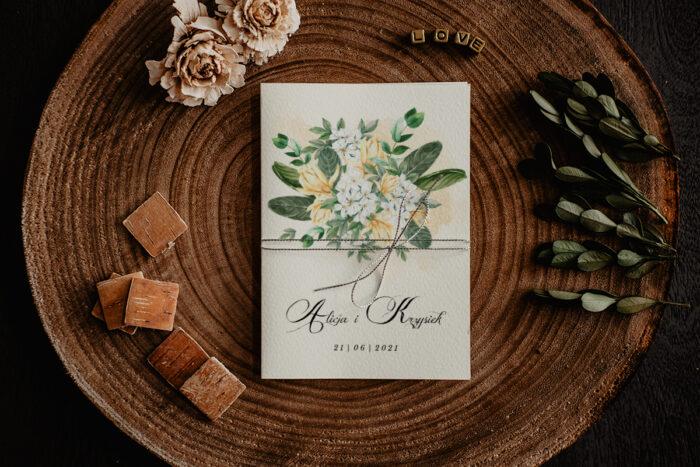 zaproszenie ślubne z biało żółtymi kwiatuszkami