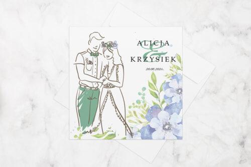 zaproszenie ślubne z młodą parą i niebieskimi kwiatami