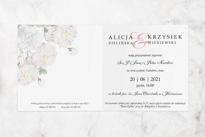 zaproszenie ślubne z parą młodą i białymi kwiatami