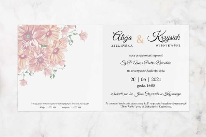 zaproszenie ślubne z parą młodą i kwiatami