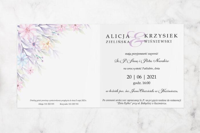 zaproszenie ślubne z parą młodą i kolorowymi kwiatami