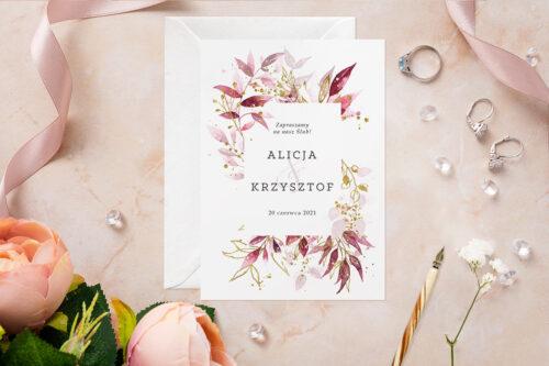 Zaproszenie ślubne - Akwarelowe Bukiety - wzór 2