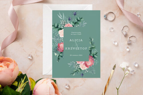 Zaproszenie ślubne - Akwarelowe Bukiety - wzór 3