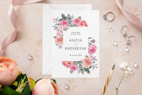 Zaproszenie ślubne - Akwarelowe Bukiety - wzór 6