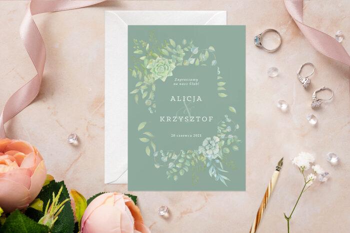 Zaproszenie ślubne - Akwarelowe Bukiety - wzór 7