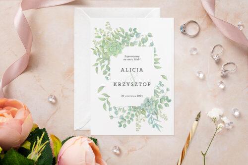Zaproszenie ślubne - Akwarelowe Bukiety - wzór 8