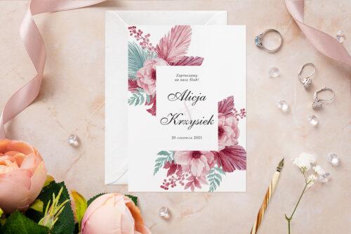 Zaproszenie ślubne - Akwarelowe Bukiety - wzór 14