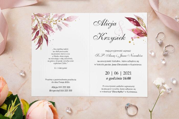 Zaproszenie ślubne - Akwarelowe Bukiety - wzór 1
