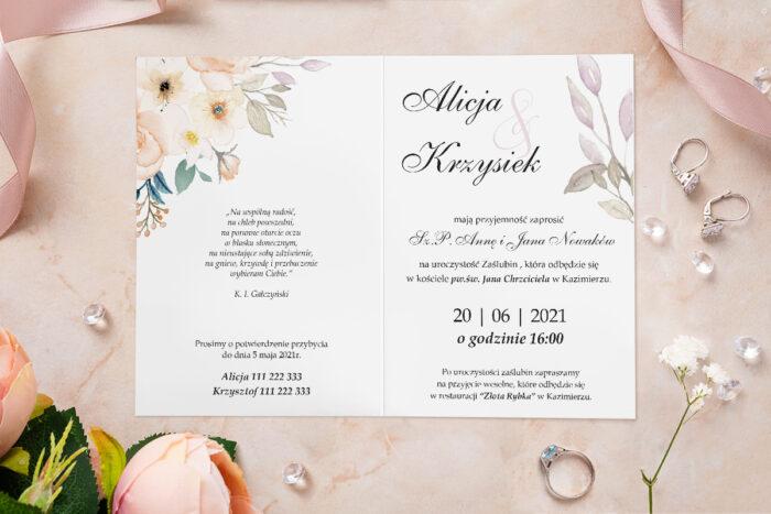 Zaproszenie ślubne - Akwarelowe Bukiety - wzór 19