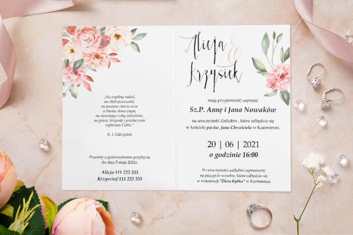 Zaproszenie ślubne - Akwarelowe Bukiety - wzór 23