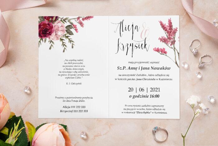Zaproszenie ślubne - Akwarelowe Bukiety - wzór 25