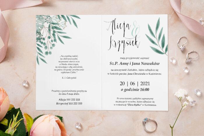Zaproszenie ślubne - Akwarelowe Bukiety - wzór 29