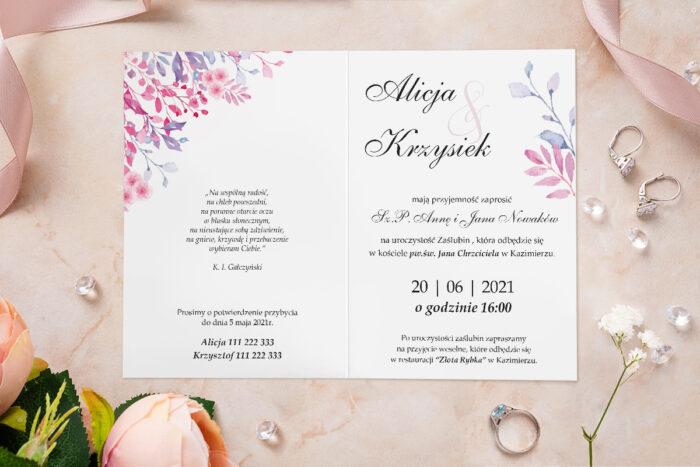 Zaproszenie ślubne - Akwarelowe Bukiety - wzór 15