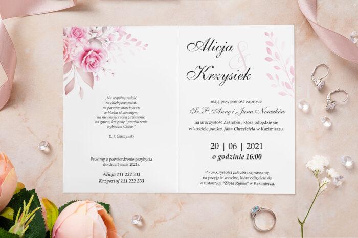 Zaproszenie ślubne - Akwarelowe Bukiety - wzór 17