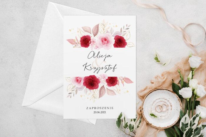 zaproszenie-slubne-jednokartkowe-z-kwiatami-wzor-1-papier-matowy-koperta-bez-koperty