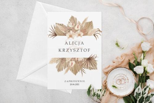 Zaproszenie ślubne jednokartkowe z Kwiatami - wzór 14