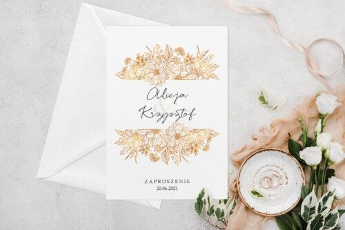 Zaproszenie ślubne jednokartkowe z Kwiatami - wzór 2