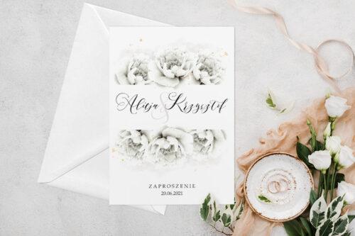 Zaproszenie ślubne jednokartkowe z Kwiatami - wzór 6