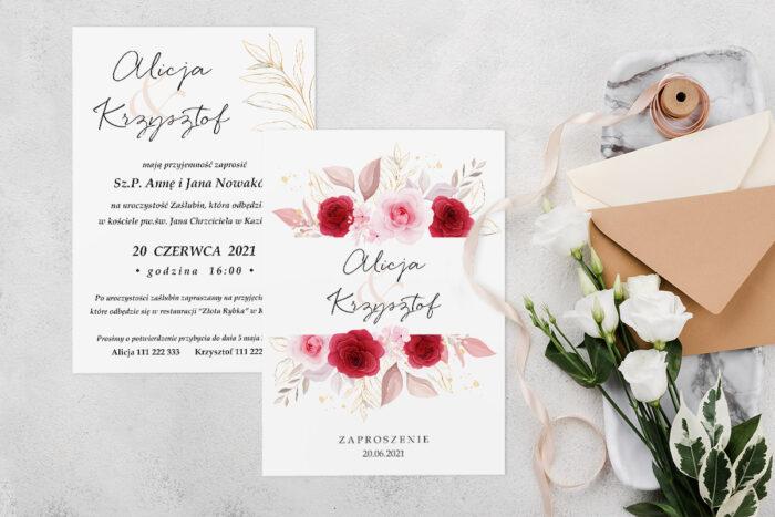 Zaproszenie ślubne jednokartkowe z Kwiatami - wzór 1
