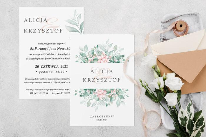 Zaproszenie ślubne jednokartkowe z Kwiatami - wzór 12