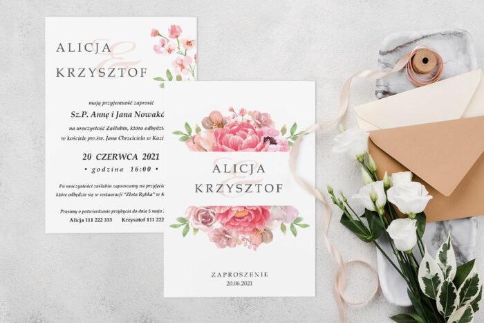 Zaproszenie ślubne jednokartkowe z Kwiatami - wzór 13
