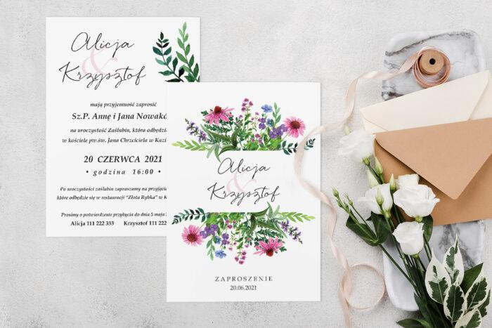Zaproszenie ślubne jednokartkowe z Kwiatami - wzór 3