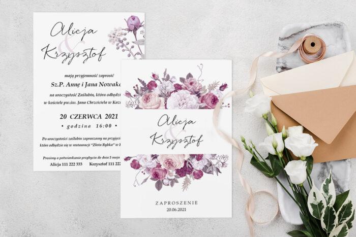 Zaproszenie ślubne jednokartkowe z Kwiatami - wzór 4