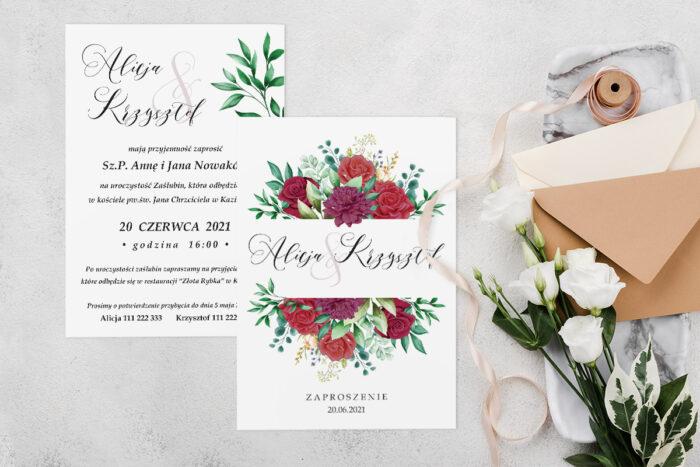 Zaproszenie ślubne jednokartkowe z Kwiatami - wzór 7