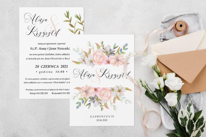 Zaproszenie ślubne jednokartkowe z Kwiatami - wzór 8