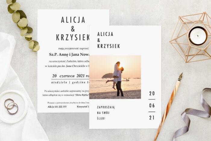 Zaproszenie ślubne ze zdjęciem - wzór 10