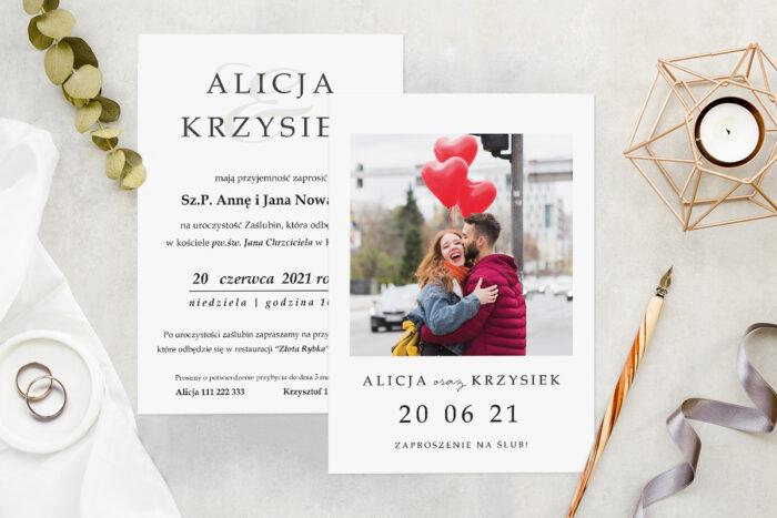 Zaproszenie ślubne ze zdjęciem - wzór 12