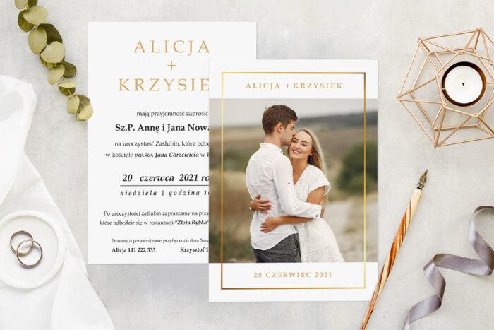 Zaproszenie ślubne ze zdjęciem - wzór 13