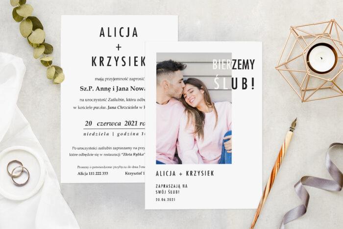 Zaproszenie ślubne ze zdjęciem - wzór 14