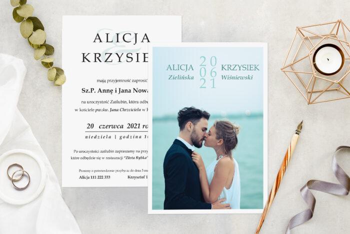 Zaproszenie ślubne ze zdjęciem - wzór 15