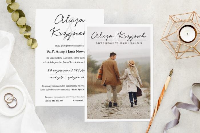 Zaproszenie ślubne ze zdjęciem - wzór 2