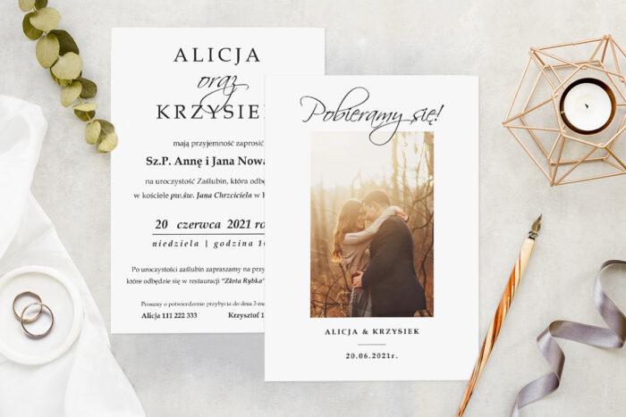 Zaproszenie ślubne ze zdjęciem - wzór 3