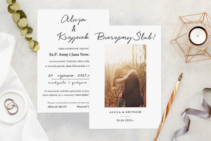 Zaproszenie ślubne ze zdjęciem - wzór 4