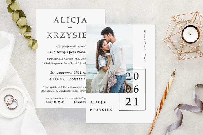 Zaproszenie ślubne ze zdjęciem - wzór 6