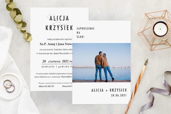 Zaproszenie ślubne ze zdjęciem - wzór 7