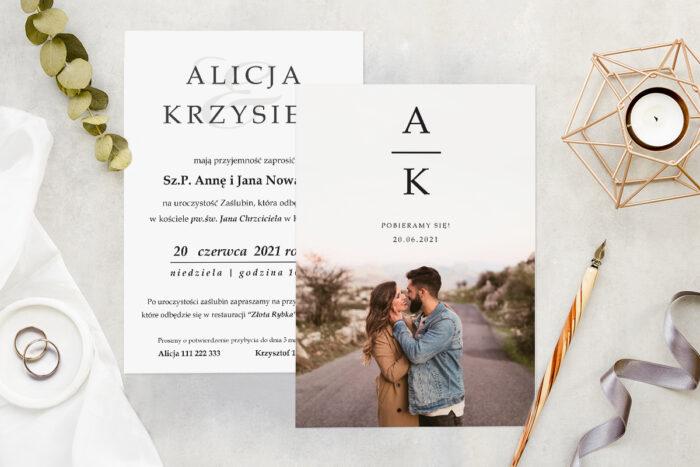 Zaproszenie ślubne ze zdjęciem - wzór 8