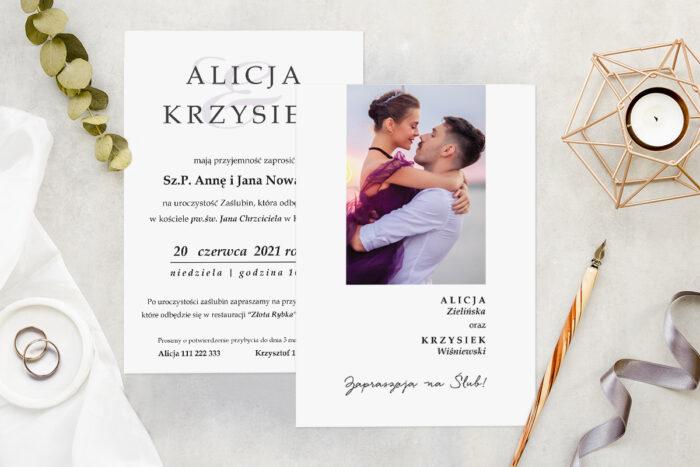 Zaproszenie ślubne ze zdjęciem - wzór 9