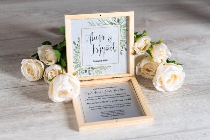 Zaproszenie ślubne w pudełeczku - wzór 3